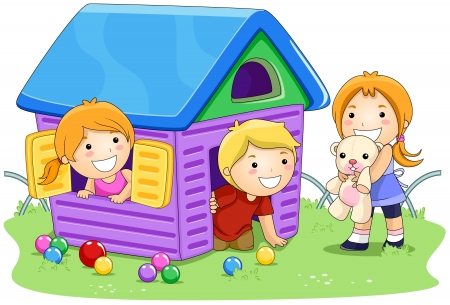 Children playing House in the Park photo
