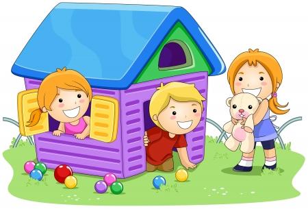 ni�os jugando parque: Ni�os jugando en casa en el Parque  Foto de archivo