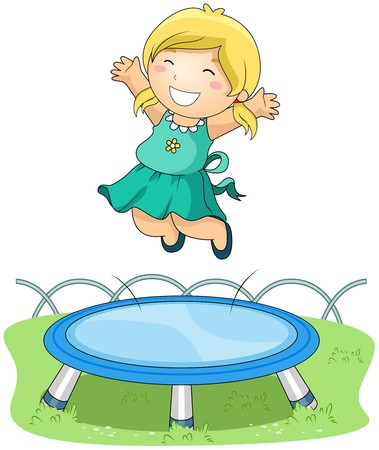 group jumping: Girl jumping on Trampoline