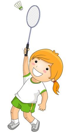 Meisje spelen Badminton  Stockfoto