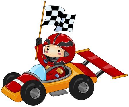 serie: Junge auf Go Kart  Lizenzfreie Bilder