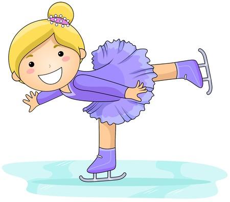 patinaje sobre hielo: Patinaje de chica  Foto de archivo