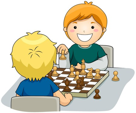 mind games: Boys playing Chess  Stock Photo