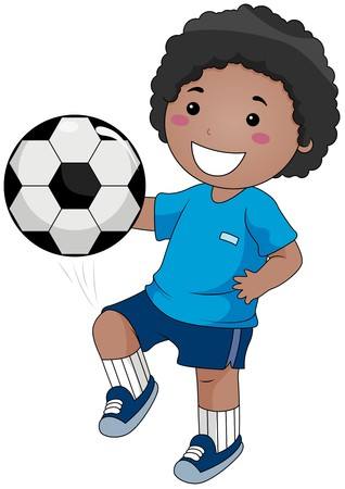 game boy: Boy playing Soccer  Stock Photo