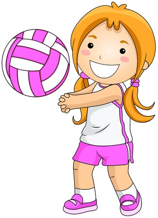 physical activity: Girl playing Volleyball Stock Photo