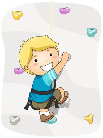 climbing wall: Boy Wall Climbing Stock Photo
