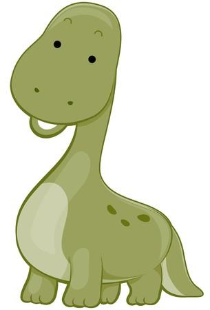 Cute Green Brontosaurus photo