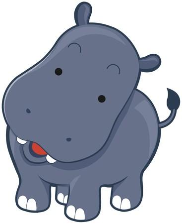 cartoon hippo: Cute Hippopotamus