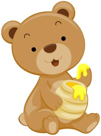 Cute oso con miel