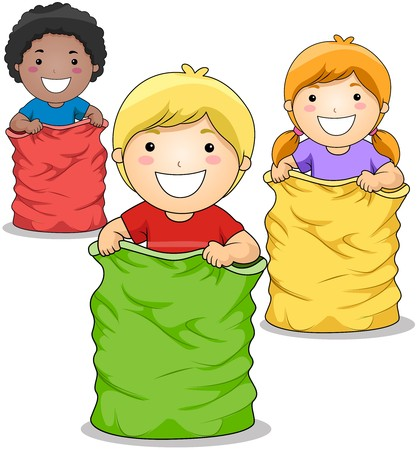 child clipart: Children playing Jumping Sacks Game
