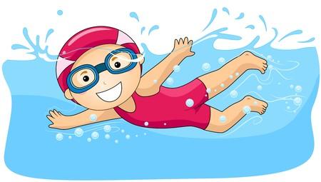children swimming: Boy Swimming