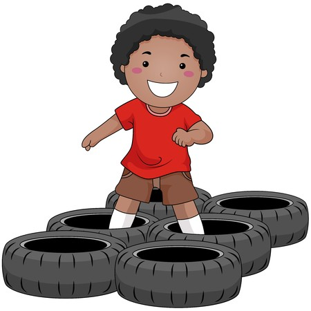 tyres: Boy in Obstacle Race
