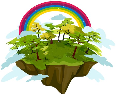 floating island: Floating Island with Rainbow
