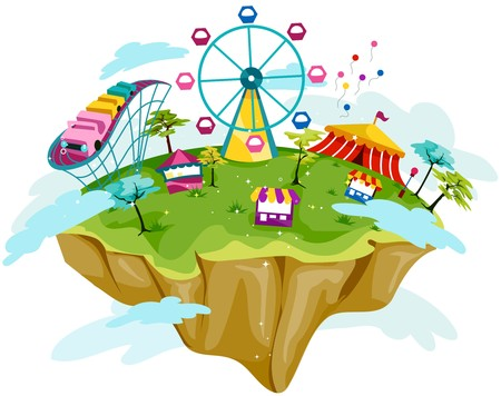 island clipart: Theme Park on Floating Island