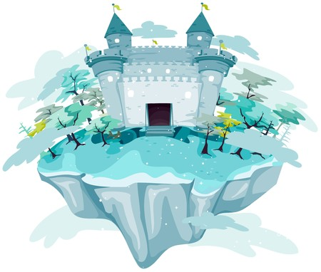 island clipart: Castle on Floating Island