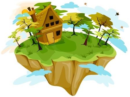 floating island: House on Floating Island Stock Photo