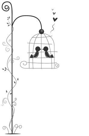 bird cage: Love Birds Design   Stock Photo