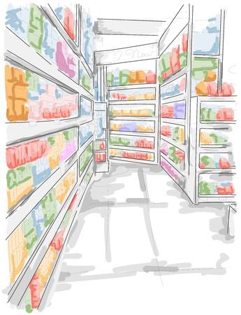 abarrotes: Estantes de Grocery Store  Foto de archivo
