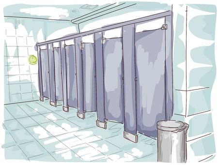 Public Toilet Illustration illustration