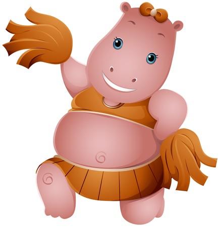 cartoon hippo: Hippo Cheerleader