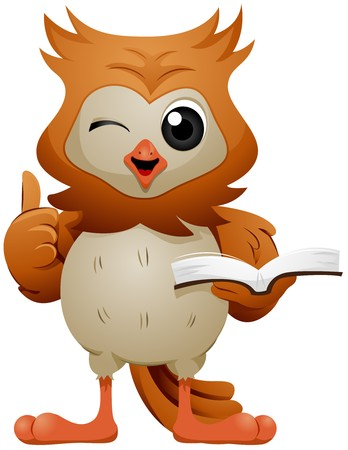 cartoon owl: Owl holding book signing OK   Stock Photo