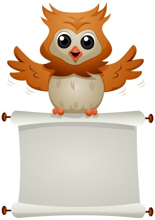 cartoon owl: Owl carrying Blank Scroll   Stock Photo