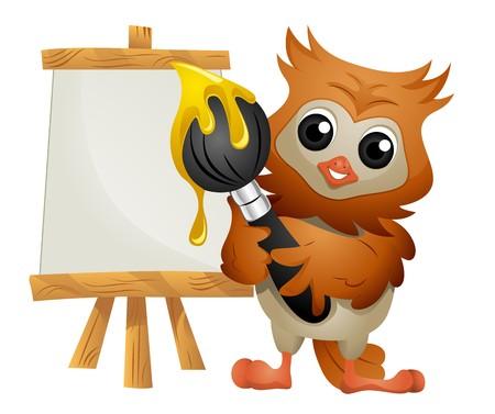 cartoon owl: Owl Painter