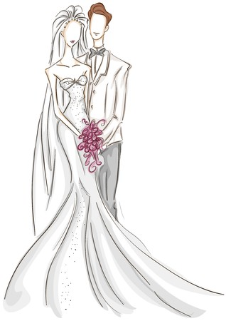 groom and bride: Bride and Groom Sketch