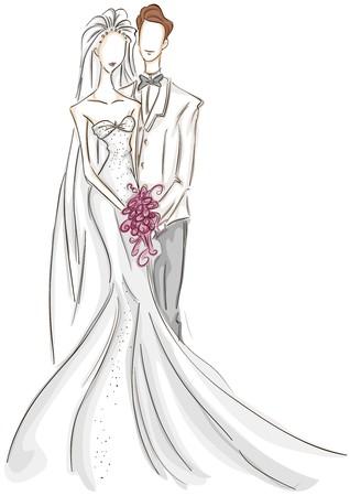 bocetos de personas: Esbozo de novio y la novia  Foto de archivo