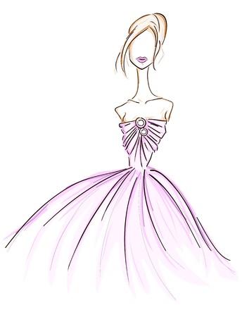 traje de gala: Chica en vestido de Sketch  Foto de archivo