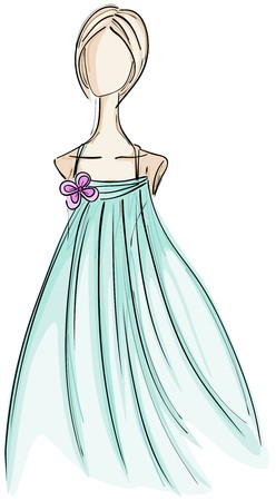 gala: Girl in Gown Sketch  Stock Photo