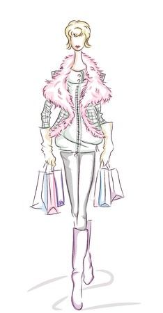 Woman Shopping Sketch   Stock Photo - 7501991