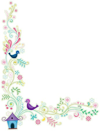 birdhouse: Abstract Vines Border with Birds   Stock Photo