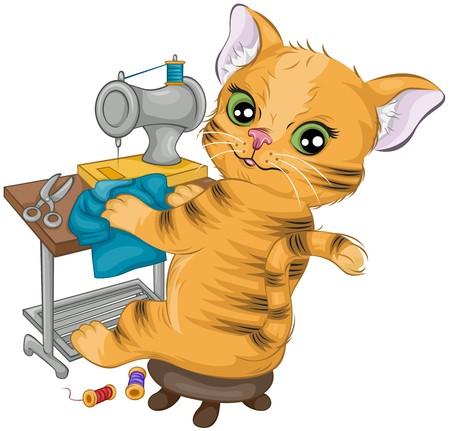 maquina de coser: Costura de gato  Foto de archivo
