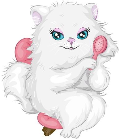 cat cartoon: Cat Brushing Coat