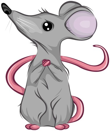 maus cartoon: Angst Mouse Looking Up