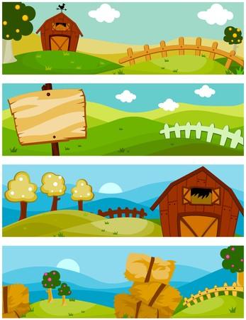 farm background: Four Banners of Farm  Nature Design Stock Photo