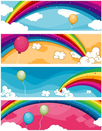 cloud clipart: Four Banners of Rainbow Designs