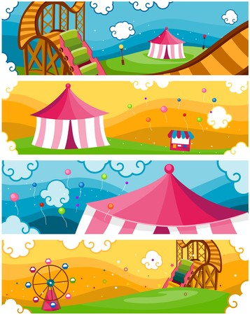 Four Banners of Theme Park Designs Stock Photo - 7535587