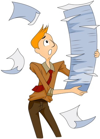 Businessman with Stacks of Papers   photo