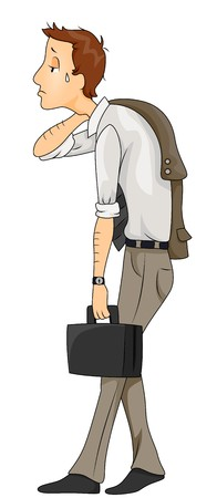 tired cartoon: Tired Businessman Going Home Stock Photo