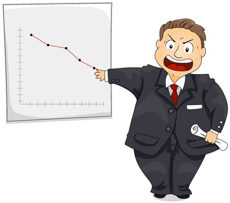 angry boss: Angry Boss showing drop in Chart   Stock Photo