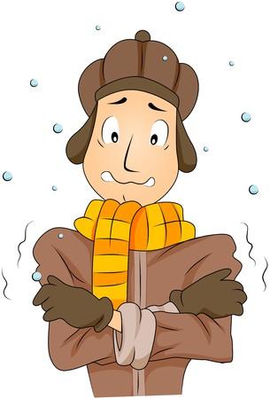 resfriado: Hombre en Cold Weather