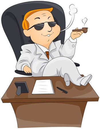 cartoon gangster: Businessman Smoking