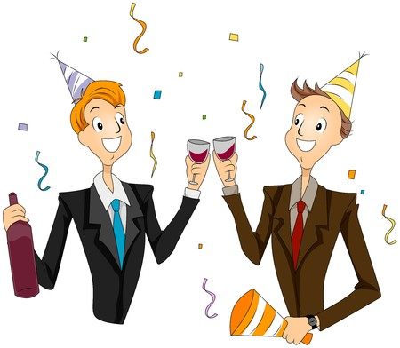 clip art wine: Office Party
