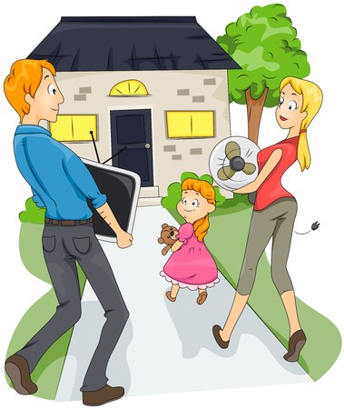 family clip art: Family moving to a New House  Stock Photo