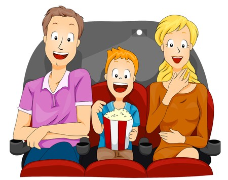 family movies: Family Watching Movie  Stock Photo