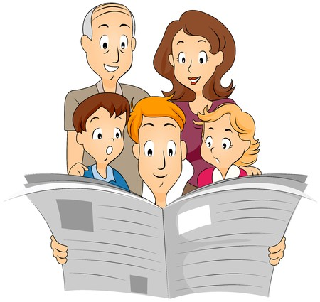 reading news: Family reading Newspaper Stock Photo