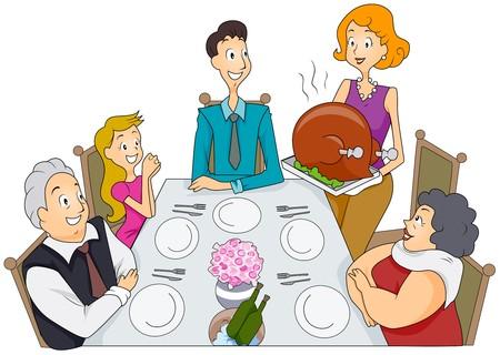 family clipart: Famiglia Thanksgiving