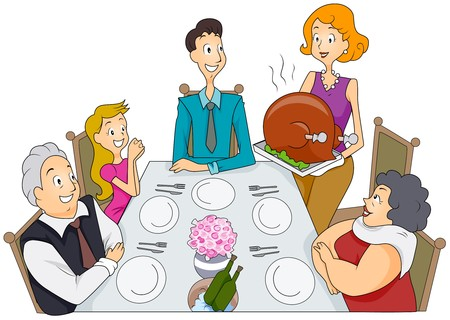cartoon dinner: Family Thanksgiving Stock Photo